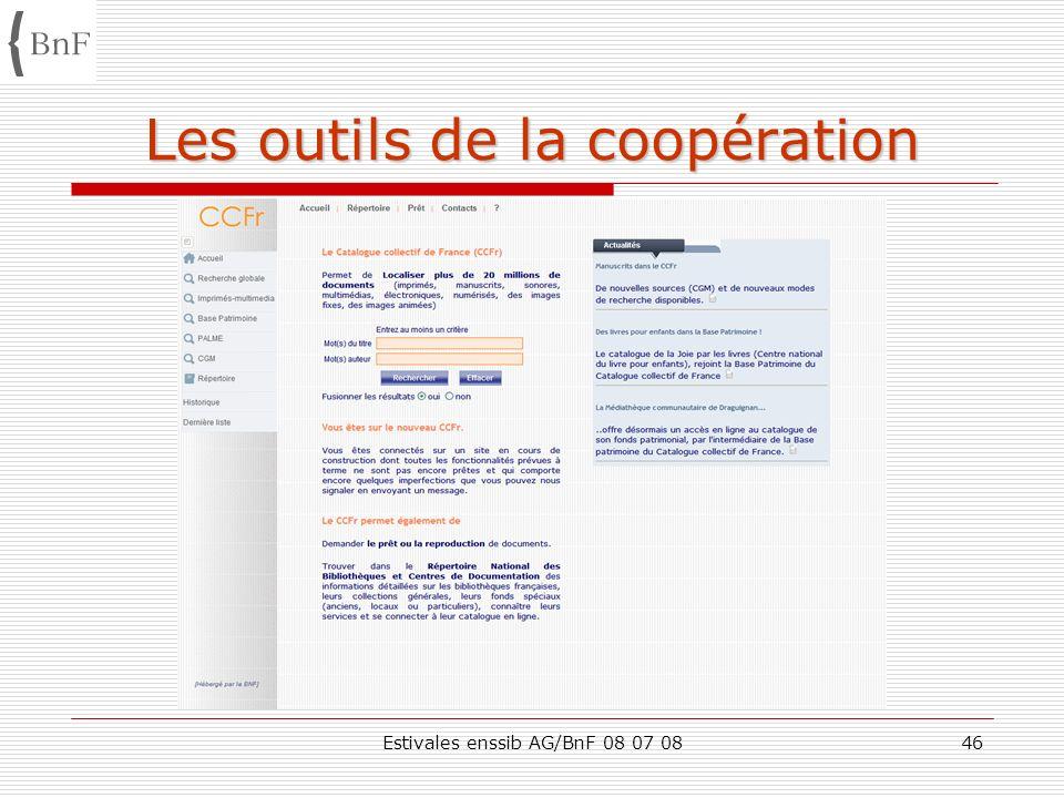 Estivales enssib AG/BnF 08 07 0846 Les outils de la coopération