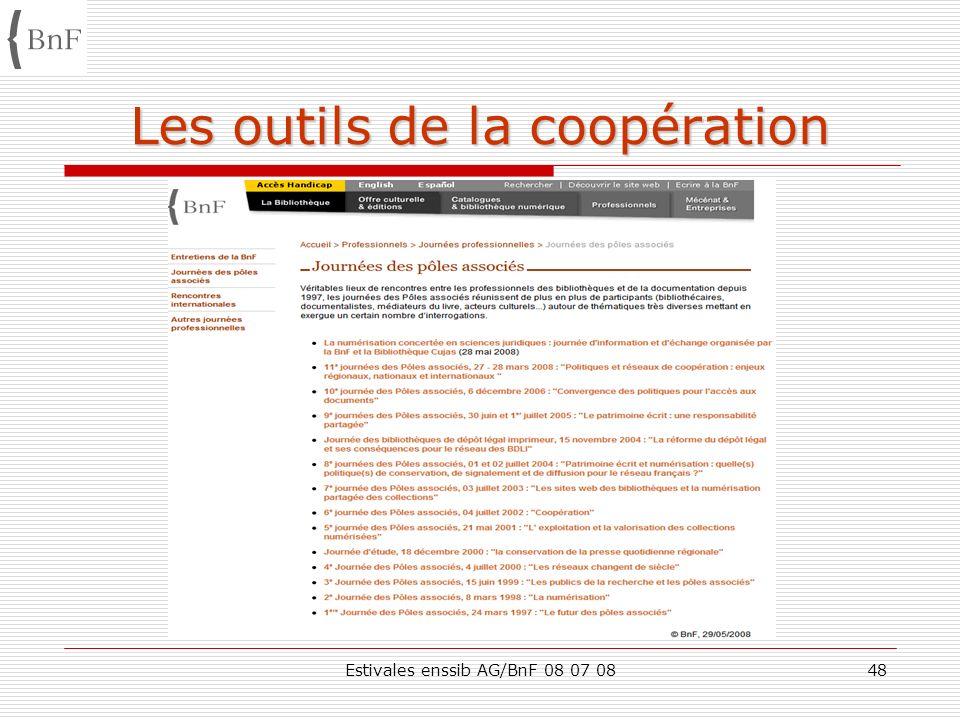 Estivales enssib AG/BnF 08 07 0848 Les outils de la coopération