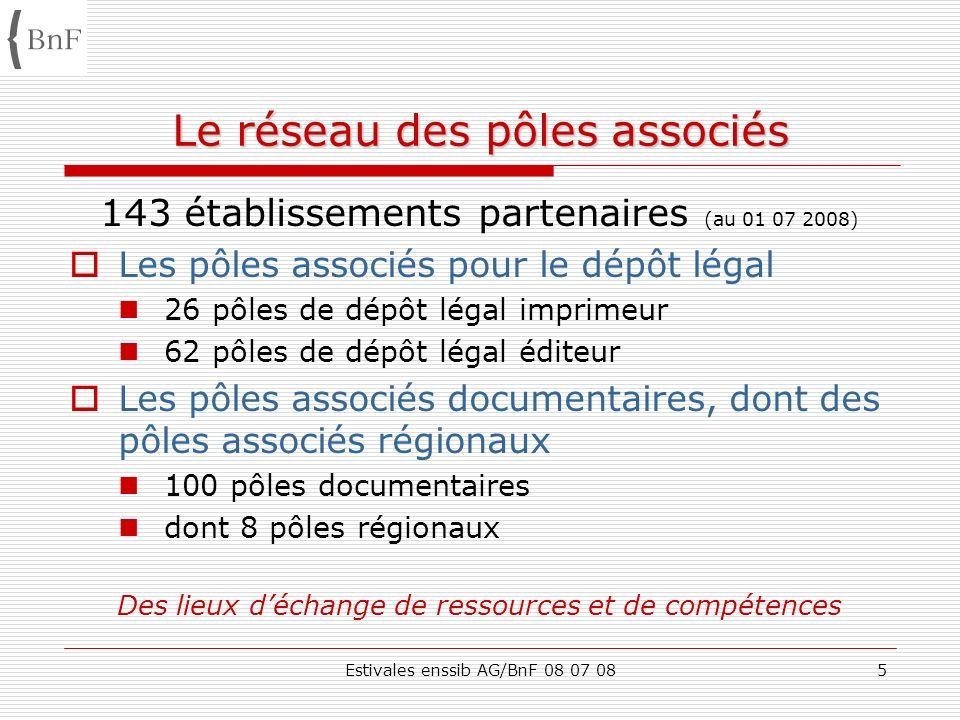 Estivales enssib AG/BnF 08 07 085 Le réseau des pôles associés 143 établissements partenaires (au 01 07 2008) Les pôles associés pour le dépôt légal 2