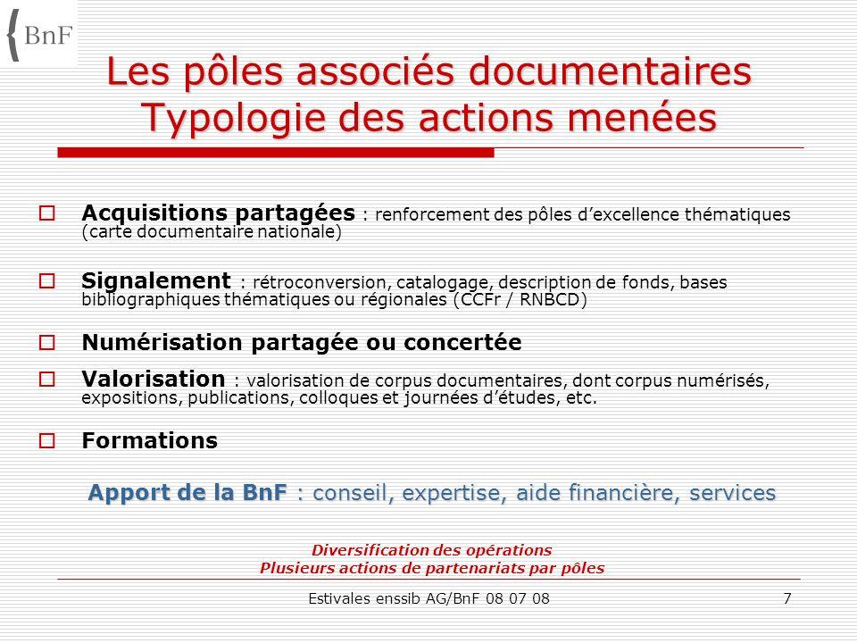 Estivales enssib AG/BnF 08 07 087 Les pôles associés documentaires Typologie des actions menées Acquisitions partagées : renforcement des pôles dexcel