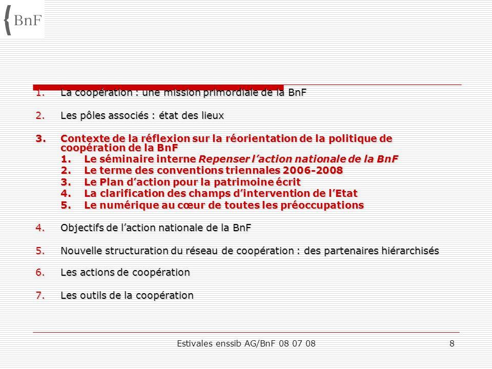 Estivales enssib AG/BnF 08 07 088 1.La coopération : une mission primordiale de la BnF 2.Les pôles associés : état des lieux 3.Contexte de la réflexio