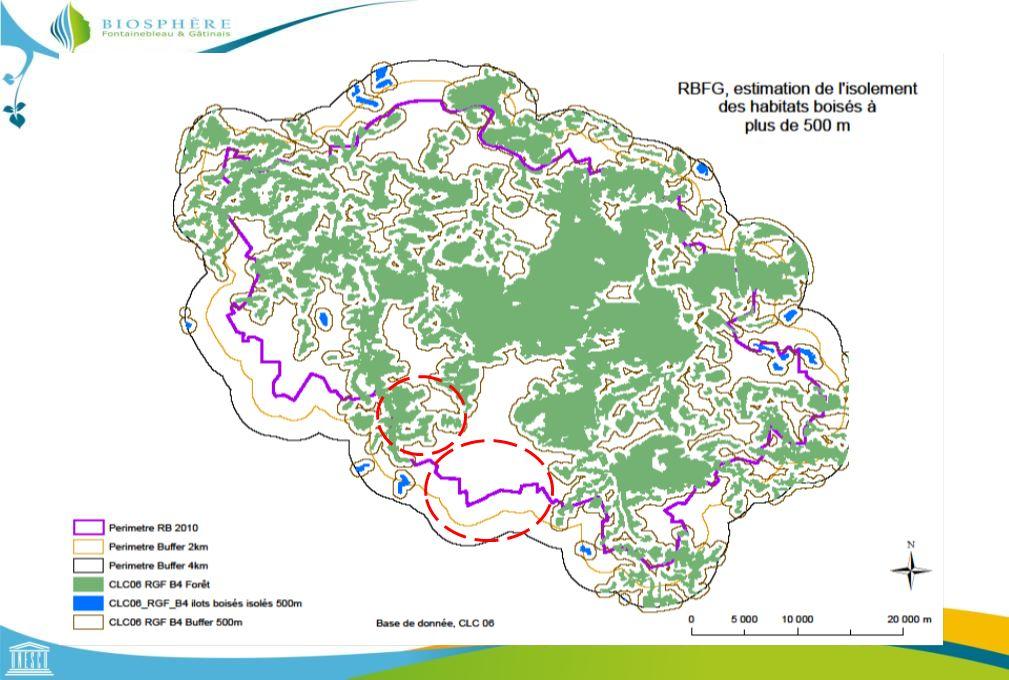 Etude de la connectivité des habitats boisés, Ecomos 2000, Dilatation/Erosion Données : IAU-IDF : Ecomos 2000, IGN BD TOPO 2008 Cassandre Brun, RBFG 2012