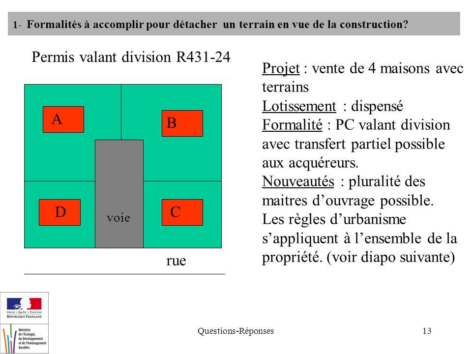 Questions-Réponses13 1- Formalités à accomplir pour détacher un terrain en vue de la construction? Permis valant division R431-24 Projet : vente de 4