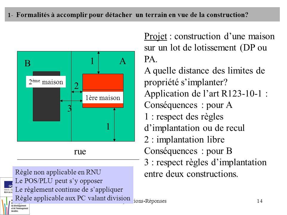 Questions-Réponses14 1- Formalités à accomplir pour détacher un terrain en vue de la construction? rue A Projet : construction dune maison sur un lot