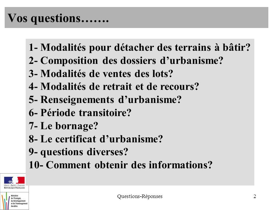 Questions-Réponses2 Vos questions……. 1- Modalités pour détacher des terrains à bâtir? 2- Composition des dossiers durbanisme? 3- Modalités de ventes d