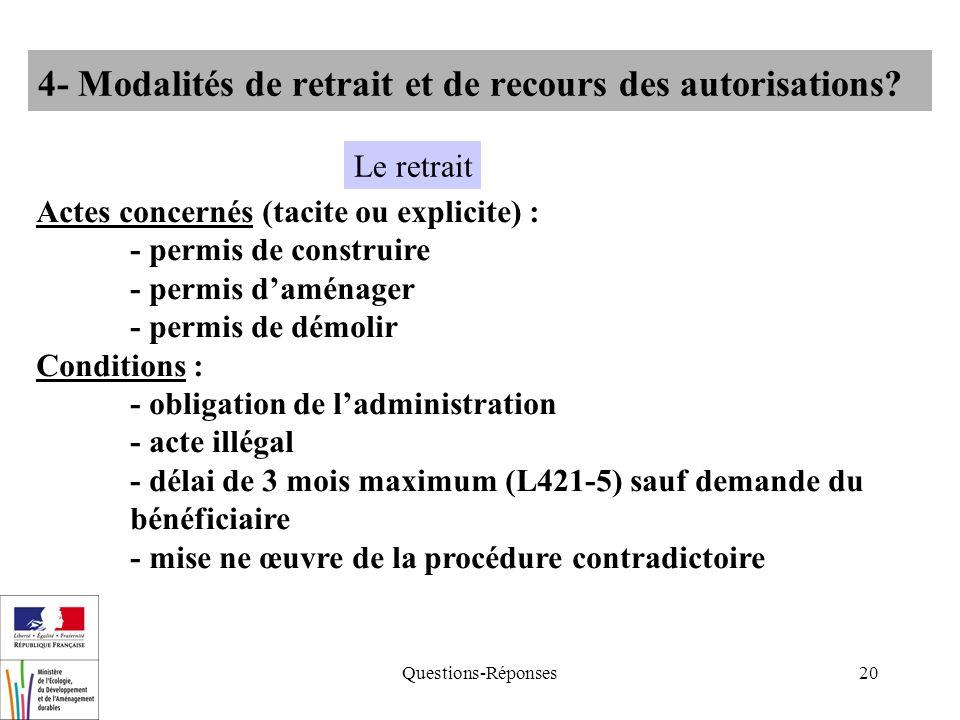 Questions-Réponses20 4- Modalités de retrait et de recours des autorisations? Actes concernés (tacite ou explicite) : - permis de construire - permis