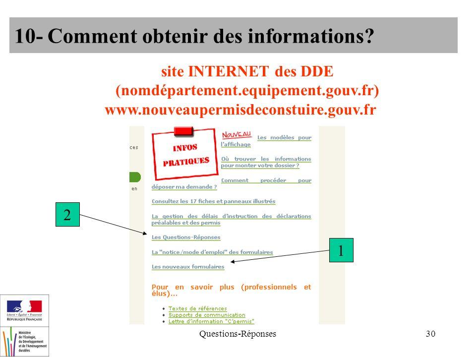 Questions-Réponses30 10- Comment obtenir des informations? site INTERNET des DDE (nomdépartement.equipement.gouv.fr) www.nouveaupermisdeconstuire.gouv
