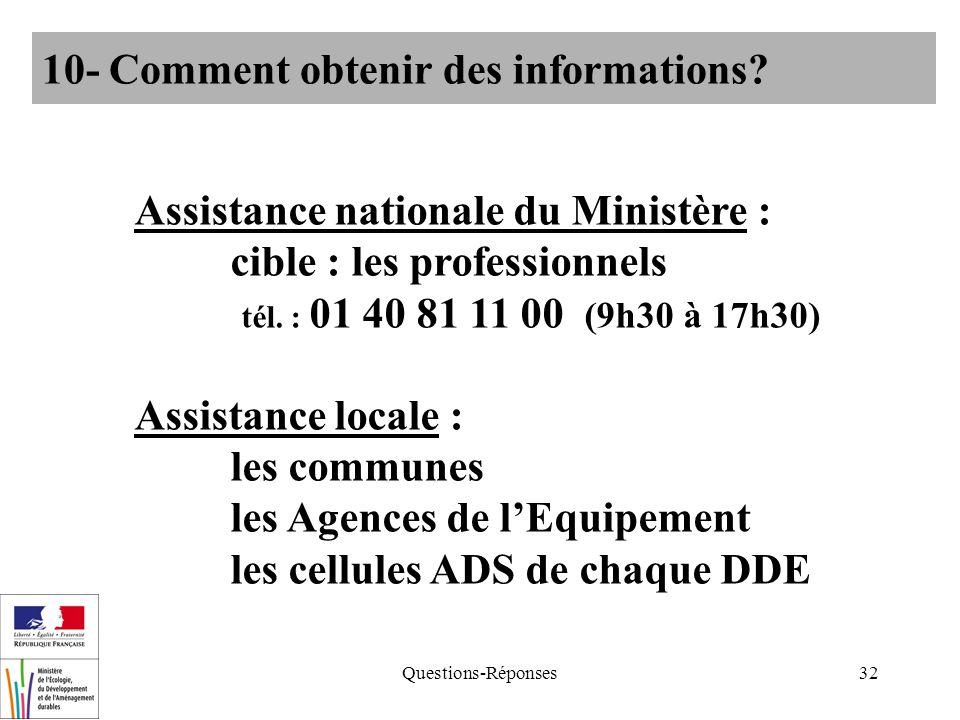 Questions-Réponses32 10- Comment obtenir des informations? Assistance nationale du Ministère : cible : les professionnels tél. : 01 40 81 11 00 (9h30