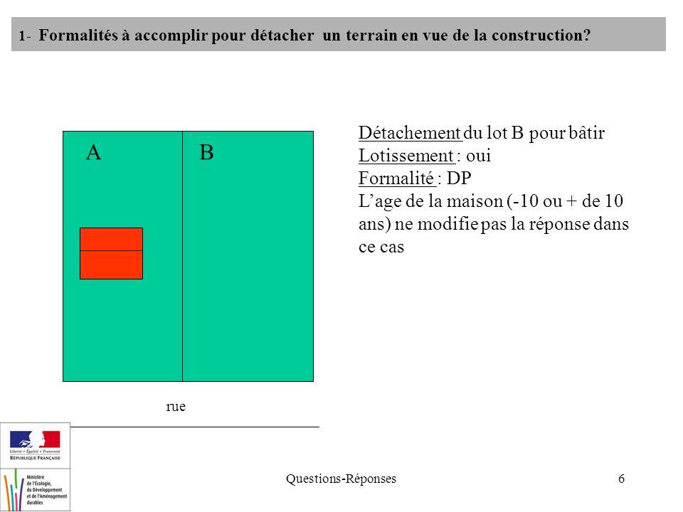 Questions-Réponses6 rue AB Détachement du lot B pour bâtir Lotissement : oui Formalité : DP Lage de la maison (-10 ou + de 10 ans) ne modifie pas la r
