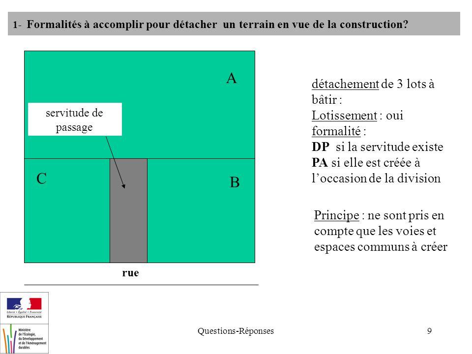 Questions-Réponses9 détachement de 3 lots à bâtir : Lotissement : oui formalité : DP si la servitude existe PA si elle est créée à loccasion de la division 1- Formalités à accomplir pour détacher un terrain en vue de la construction.