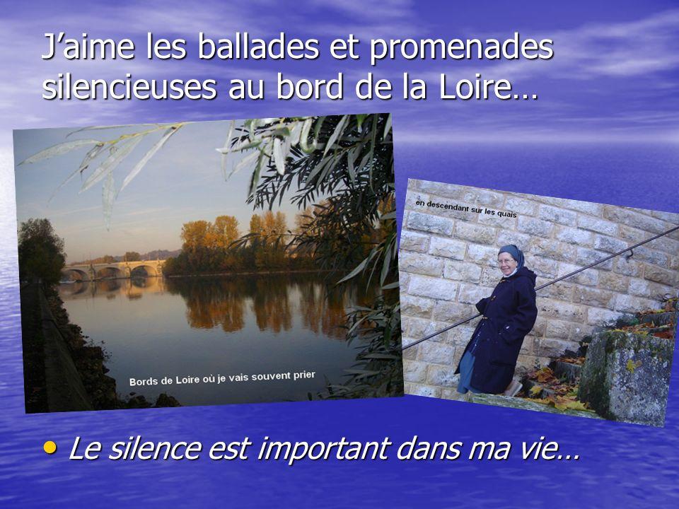 Jaime les ballades et promenades silencieuses au bord de la Loire… Le silence est important dans ma vie… Le silence est important dans ma vie…