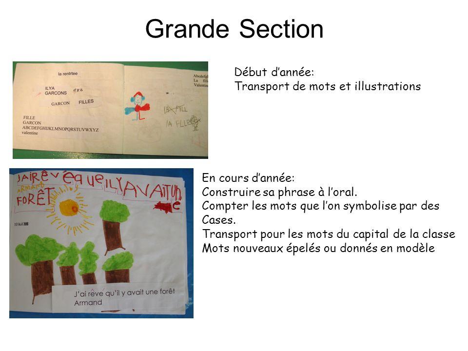 Grande Section Début dannée: Transport de mots et illustrations En cours dannée: Construire sa phrase à loral. Compter les mots que lon symbolise par