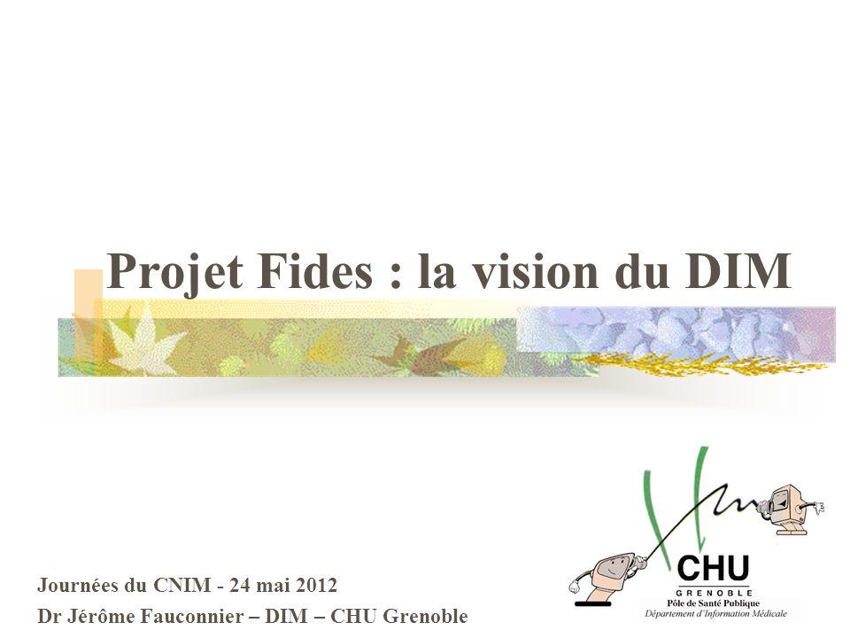 Journées du CNIM - 24 mai 2012 Dr Jérôme Fauconnier – DIM – CHU Grenoble Projet Fides : la vision du DIM