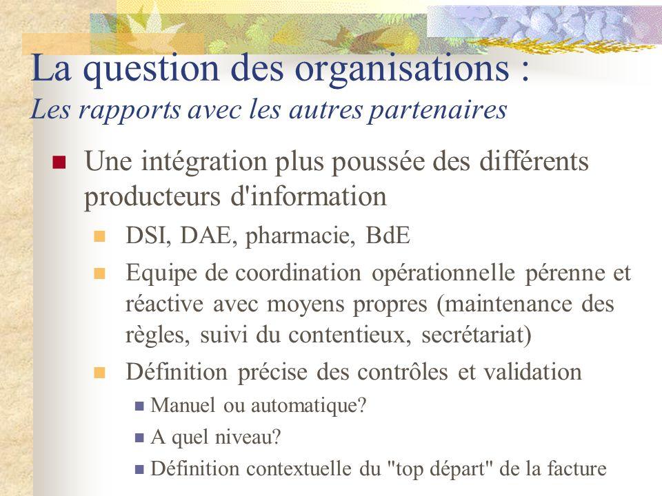 La question des organisations : Les rapports avec les autres partenaires Une intégration plus poussée des différents producteurs d'information DSI, DA