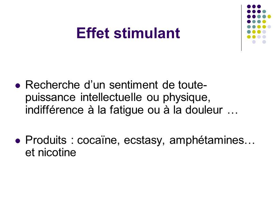 Effet stimulant Recherche dun sentiment de toute- puissance intellectuelle ou physique, indifférence à la fatigue ou à la douleur … Produits : cocaïne