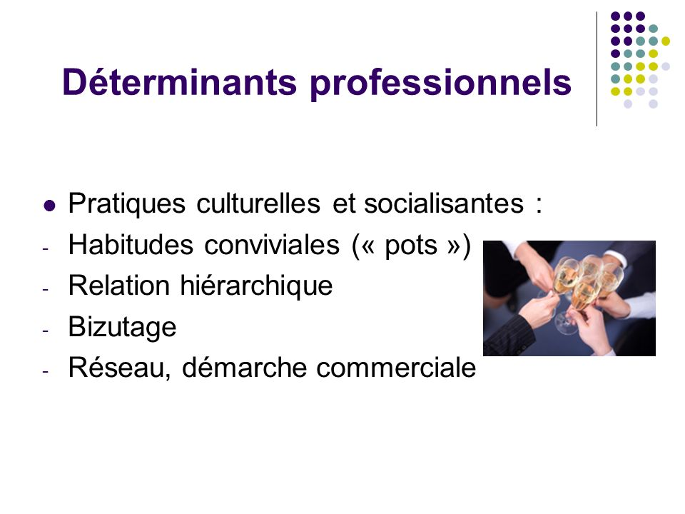 Déterminants professionnels Pratiques culturelles et socialisantes : - Habitudes conviviales (« pots ») - Relation hiérarchique - Bizutage - Réseau, d