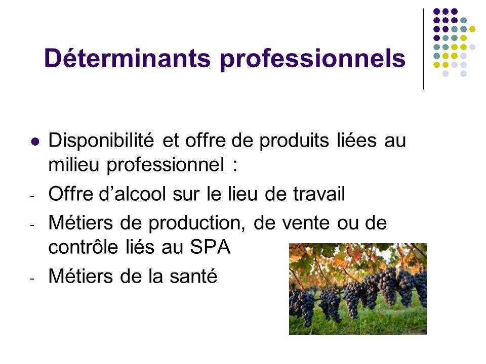 Déterminants professionnels Disponibilité et offre de produits liées au milieu professionnel : - Offre dalcool sur le lieu de travail - Métiers de pro