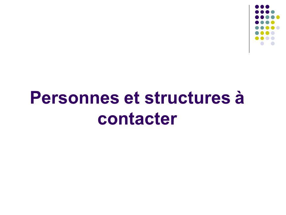 Personnes et structures à contacter