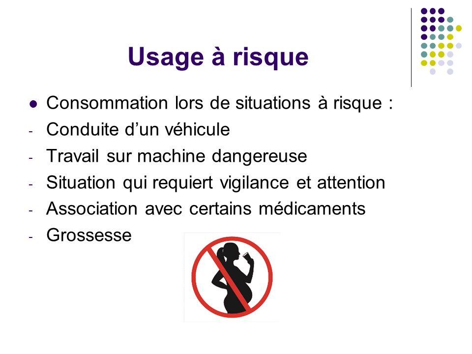 Usage à risque Consommation lors de situations à risque : - Conduite dun véhicule - Travail sur machine dangereuse - Situation qui requiert vigilance