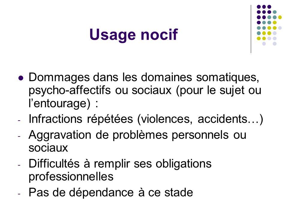 Usage nocif Dommages dans les domaines somatiques, psycho-affectifs ou sociaux (pour le sujet ou lentourage) : - Infractions répétées (violences, acci
