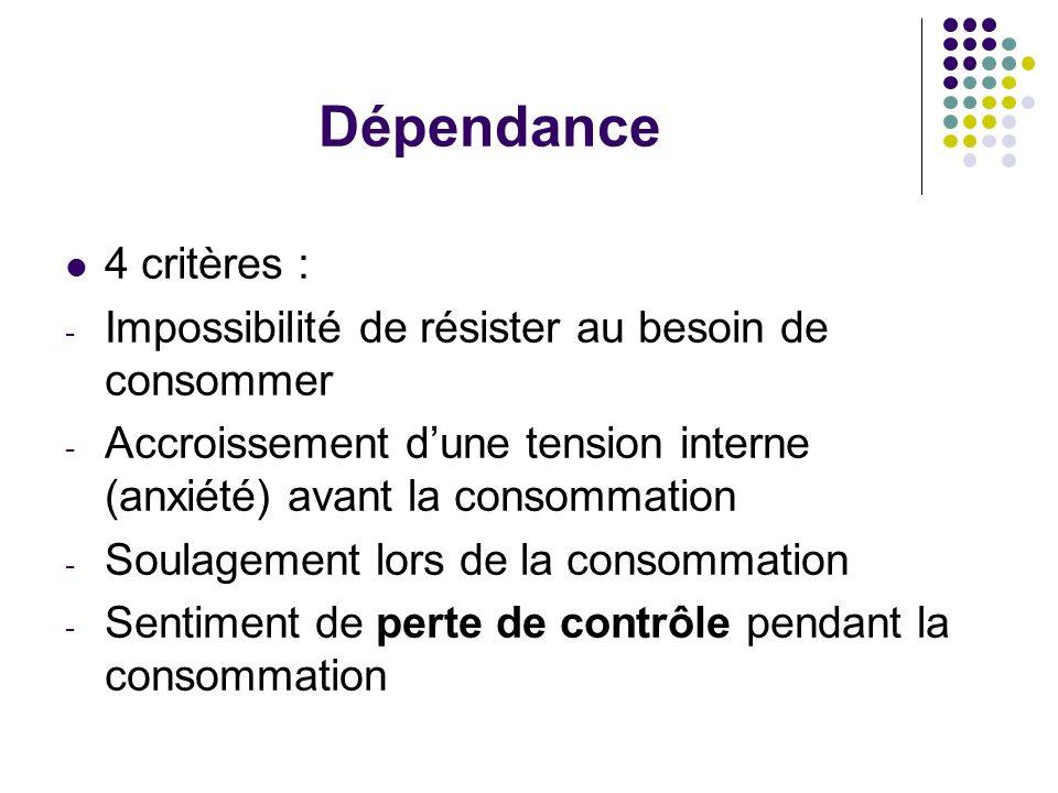Dépendance 4 critères : - Impossibilité de résister au besoin de consommer - Accroissement dune tension interne (anxiété) avant la consommation - Soul