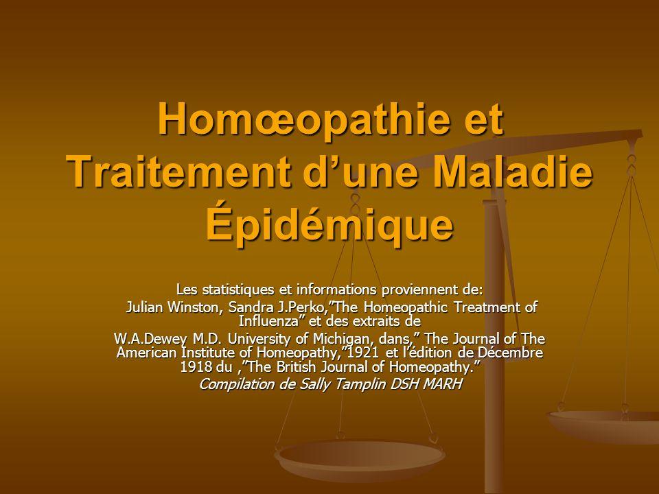 Homœopathie et Traitement dune Maladie Épidémique Les statistiques et informations proviennent de: Julian Winston, Sandra J.Perko,The Homeopathic Trea