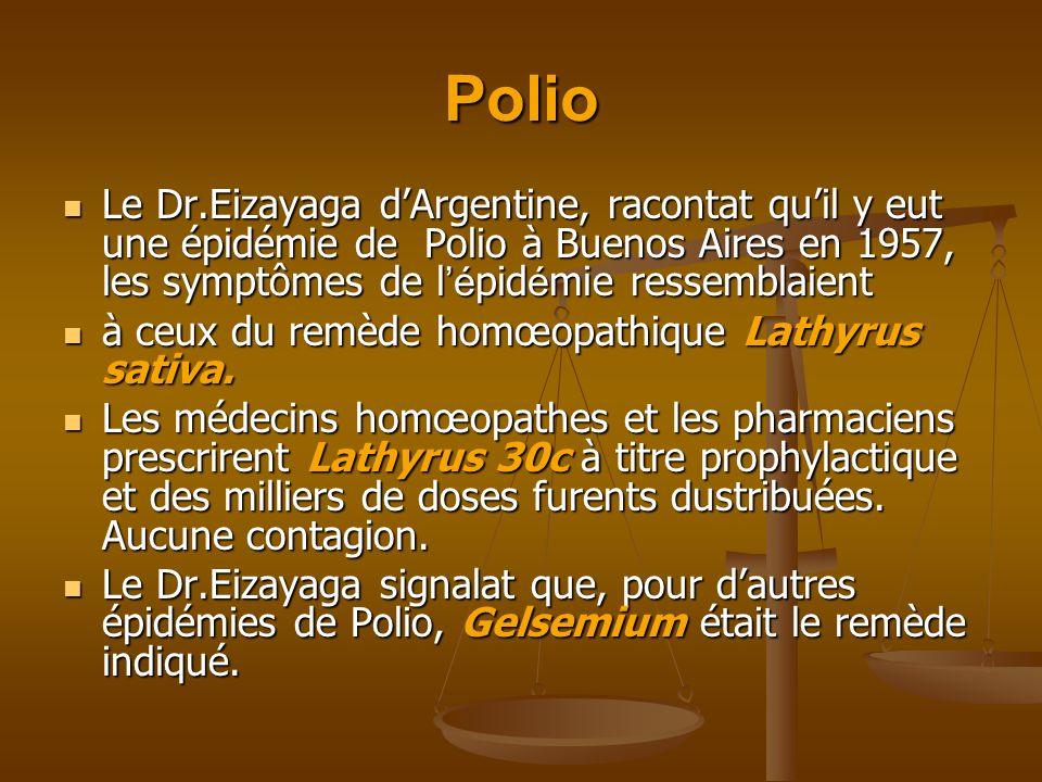 Polio Le Dr.Eizayaga dArgentine, racontat quil y eut une épidémie de Polio à Buenos Aires en 1957, les symptômes de l é pid é mie ressemblaient Le Dr.