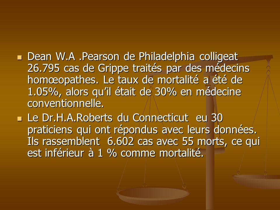 Dean W.A.Pearson de Philadelphia colligeat 26.795 cas de Grippe traités par des médecins homœopathes. Le taux de mortalité a été de 1.05%, alors quil