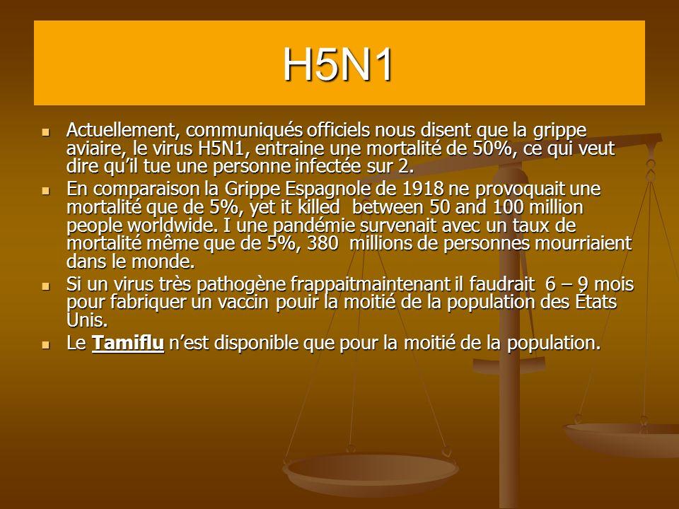 H5N1 Actuellement, communiqués officiels nous disent que la grippe aviaire, le virus H5N1, entraine une mortalité de 50%, ce qui veut dire quil tue un