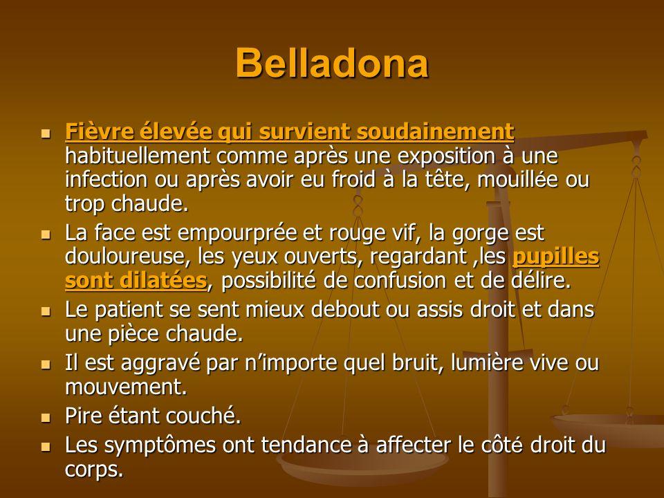 Belladona Fièvre élevée qui survient soudainement habituellement comme après une exposition à une infection ou après avoir eu froid à la tête, mouill