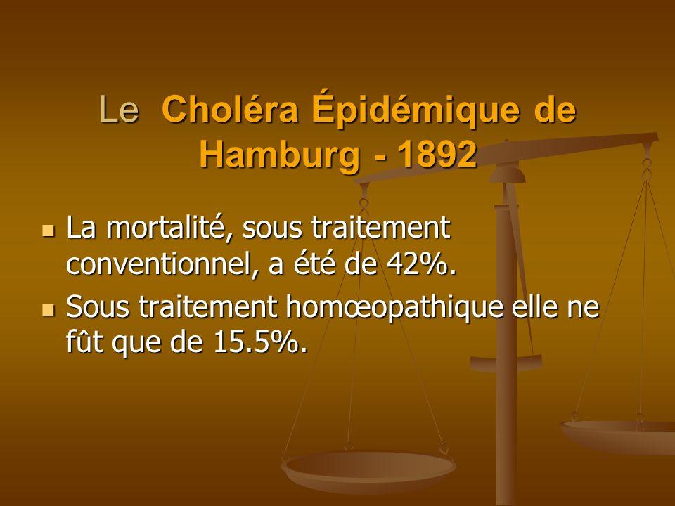 Le Choléra Épidémique de Hamburg - 1892 La mortalité, sous traitement conventionnel, a été de 42%. La mortalité, sous traitement conventionnel, a été