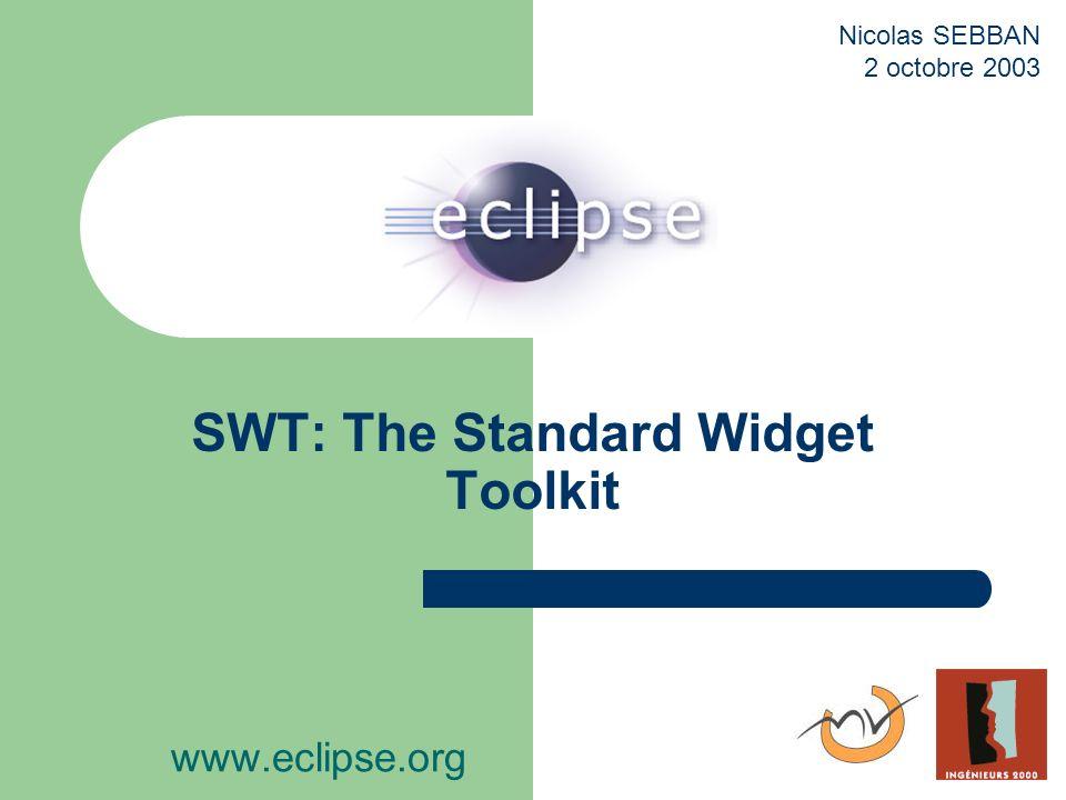 Conclusion Stratégie de SWT efficace: performant, multiplateforme JFace indispensable, principe viewers efficace Widgets existants réutilisables Autres avantages/aspects: plugins eclipse, support ActiveX, …