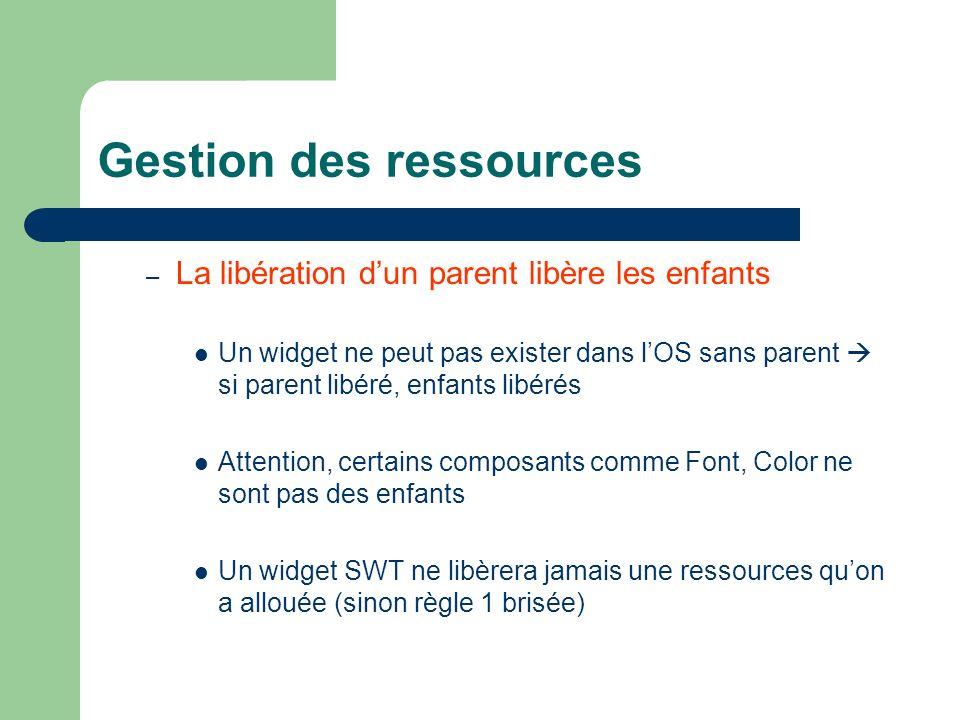 Gestion des ressources – La libération dun parent libère les enfants Un widget ne peut pas exister dans lOS sans parent si parent libéré, enfants libé