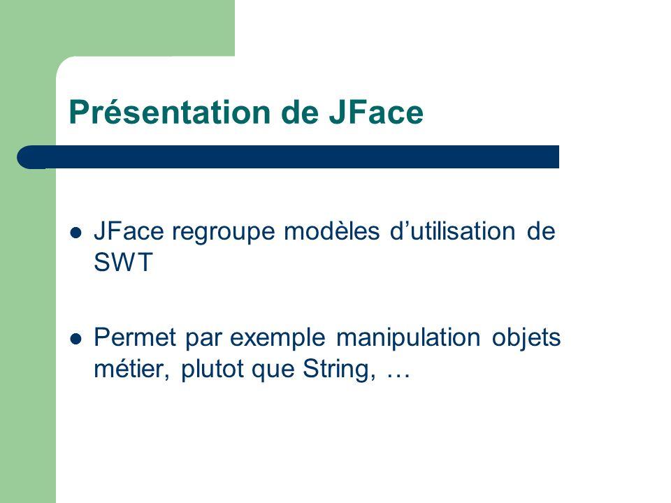Présentation de JFace JFace regroupe modèles dutilisation de SWT Permet par exemple manipulation objets métier, plutot que String, …