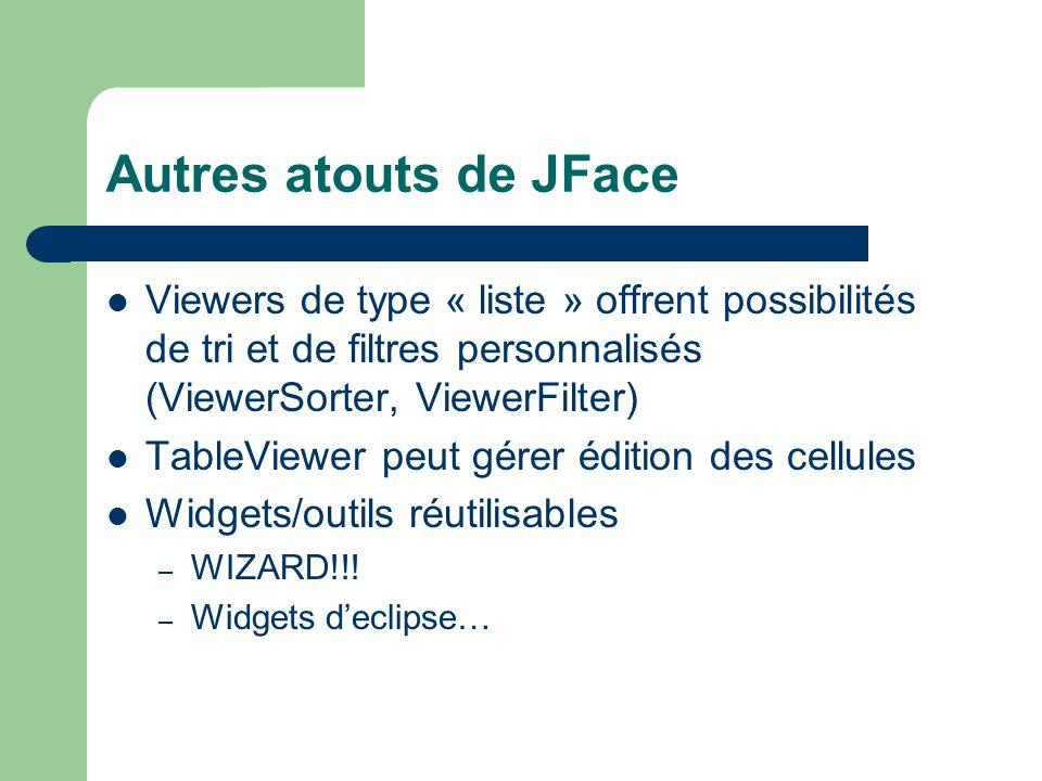 Autres atouts de JFace Viewers de type « liste » offrent possibilités de tri et de filtres personnalisés (ViewerSorter, ViewerFilter) TableViewer peut gérer édition des cellules Widgets/outils réutilisables – WIZARD!!.
