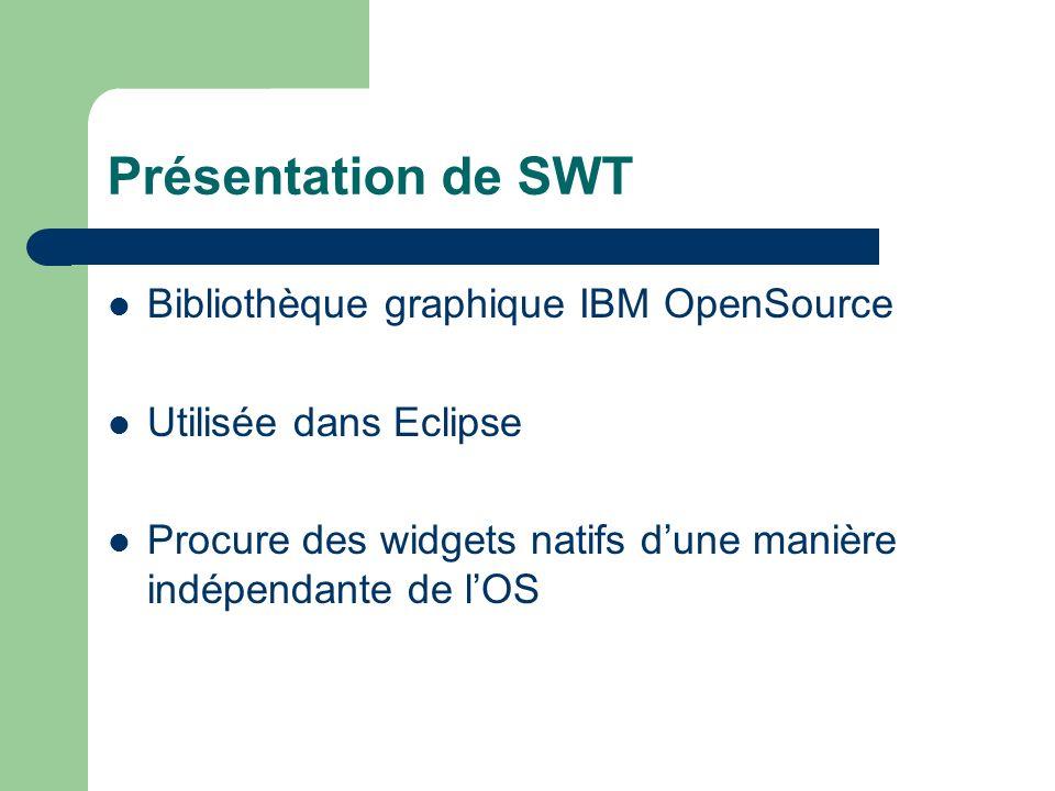 Présentation de JFace SWT procure widgets natifs « bruts »: Button, Label, Text, List, Tree, Table, … – pas pratique à manipuler (String, …) JFace: surcouche « outil » de SWT – Simplifie développements en SWT – Travaille AVEC SWT, SANS le cacher.