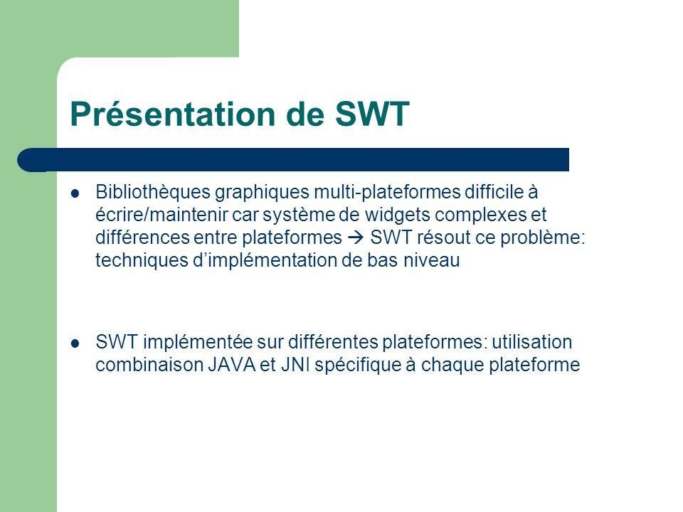 Présentation de SWT Bibliothèques graphiques multi-plateformes difficile à écrire/maintenir car système de widgets complexes et différences entre plateformes SWT résout ce problème: techniques dimplémentation de bas niveau SWT implémentée sur différentes plateformes: utilisation combinaison JAVA et JNI spécifique à chaque plateforme