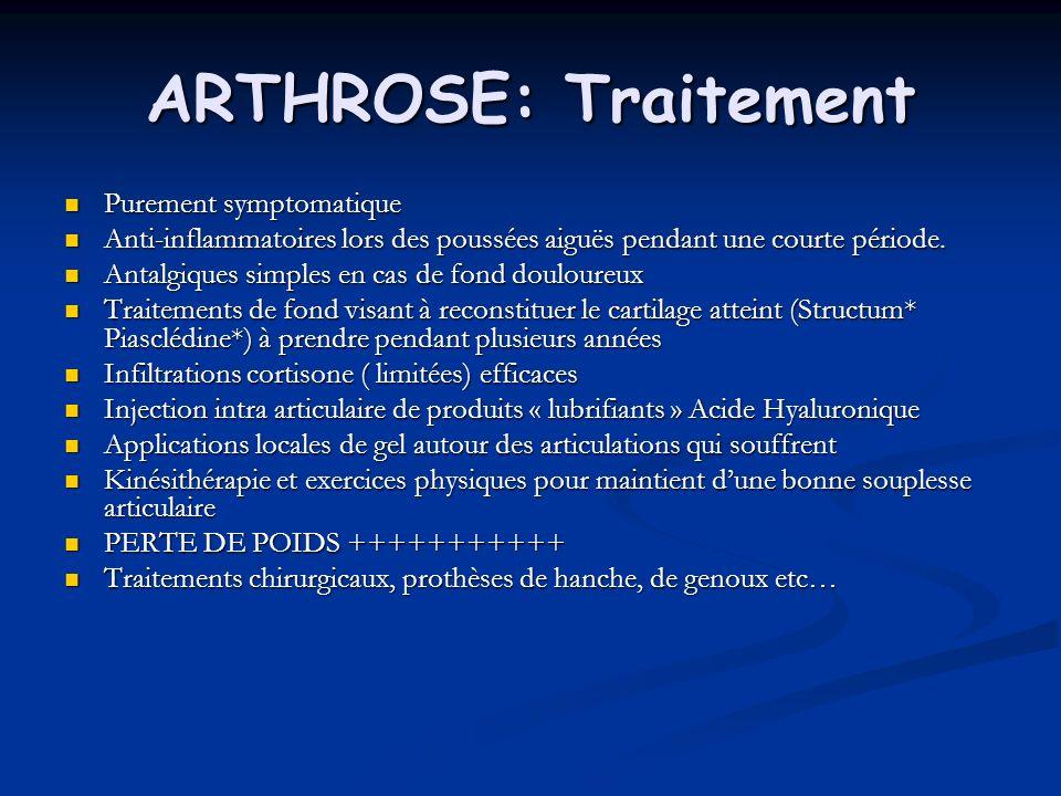 ARTHROSE: Traitement Purement symptomatique Purement symptomatique Anti-inflammatoires lors des poussées aiguës pendant une courte période. Anti-infla