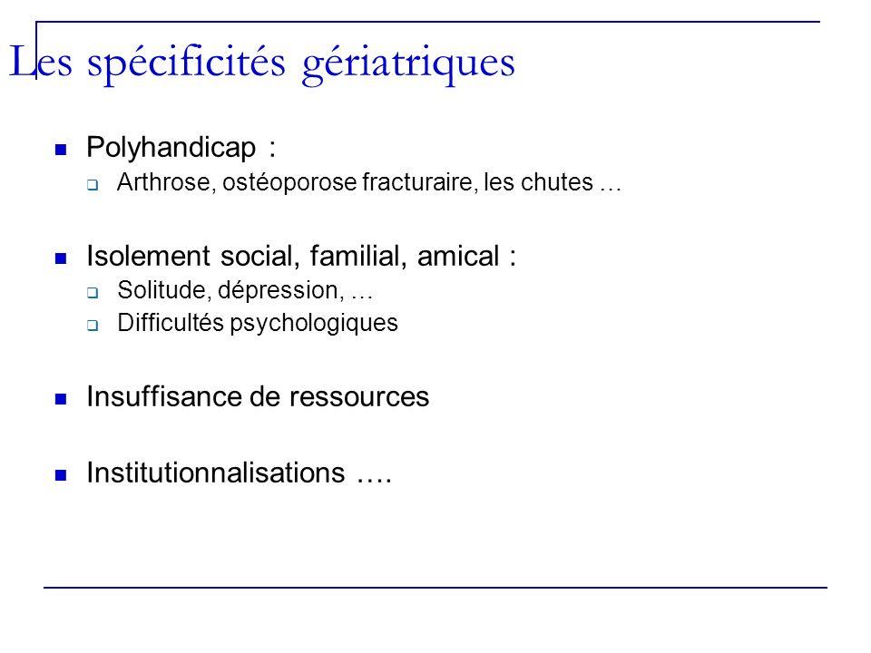 Polyhandicap : Arthrose, ostéoporose fracturaire, les chutes … Isolement social, familial, amical : Solitude, dépression, … Difficultés psychologiques