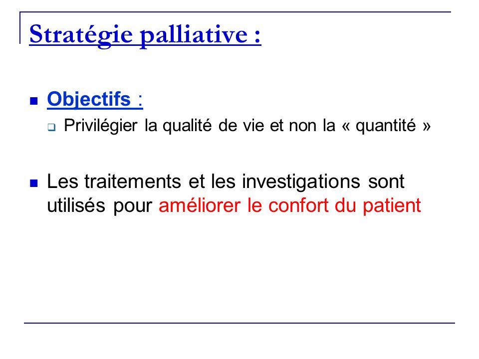 Stratégie palliative : Objectifs : Privilégier la qualité de vie et non la « quantité » Les traitements et les investigations sont utilisés pour améli