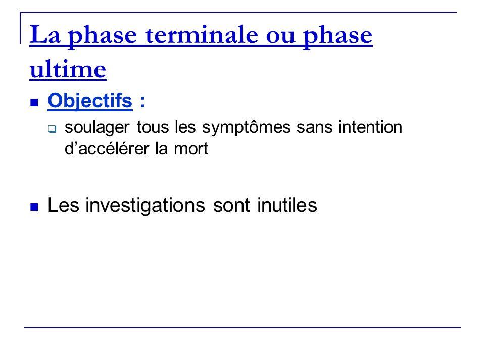 La phase terminale ou phase ultime Objectifs : soulager tous les symptômes sans intention daccélérer la mort Les investigations sont inutiles