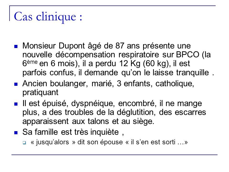 Cas clinique : Monsieur Dupont âgé de 87 ans présente une nouvelle décompensation respiratoire sur BPCO (la 6 ème en 6 mois), il a perdu 12 Kg (60 kg)