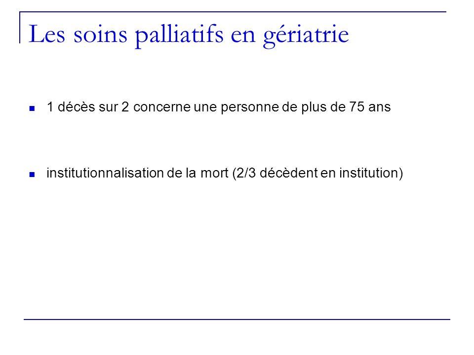 Les soins palliatifs en gériatrie 1 décès sur 2 concerne une personne de plus de 75 ans institutionnalisation de la mort (2/3 décèdent en institution)