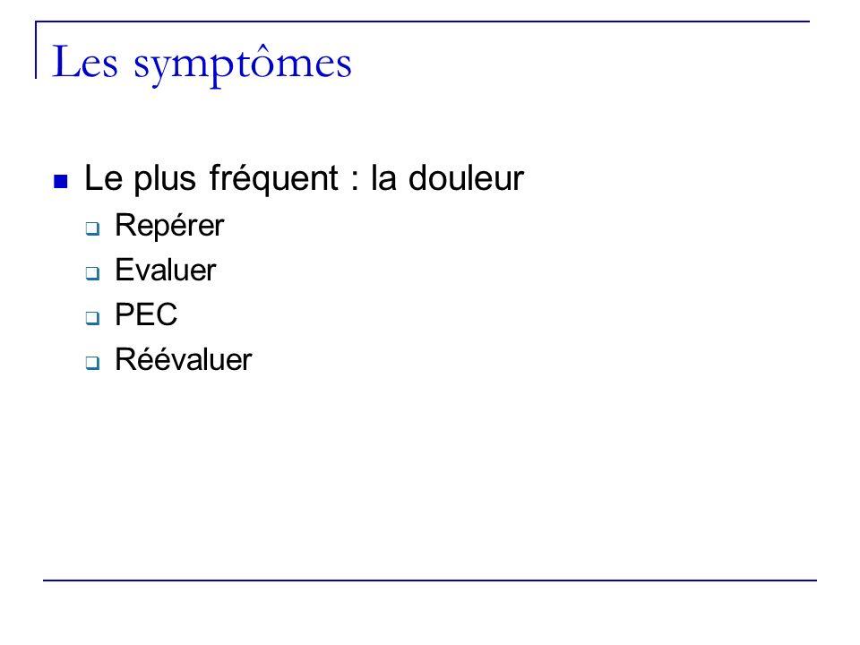 Les symptômes Le plus fréquent : la douleur Repérer Evaluer PEC Réévaluer