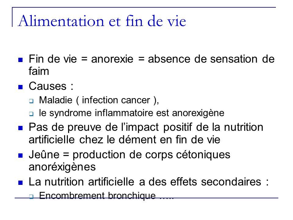 Alimentation et fin de vie Fin de vie = anorexie = absence de sensation de faim Causes : Maladie ( infection cancer ), le syndrome inflammatoire est a
