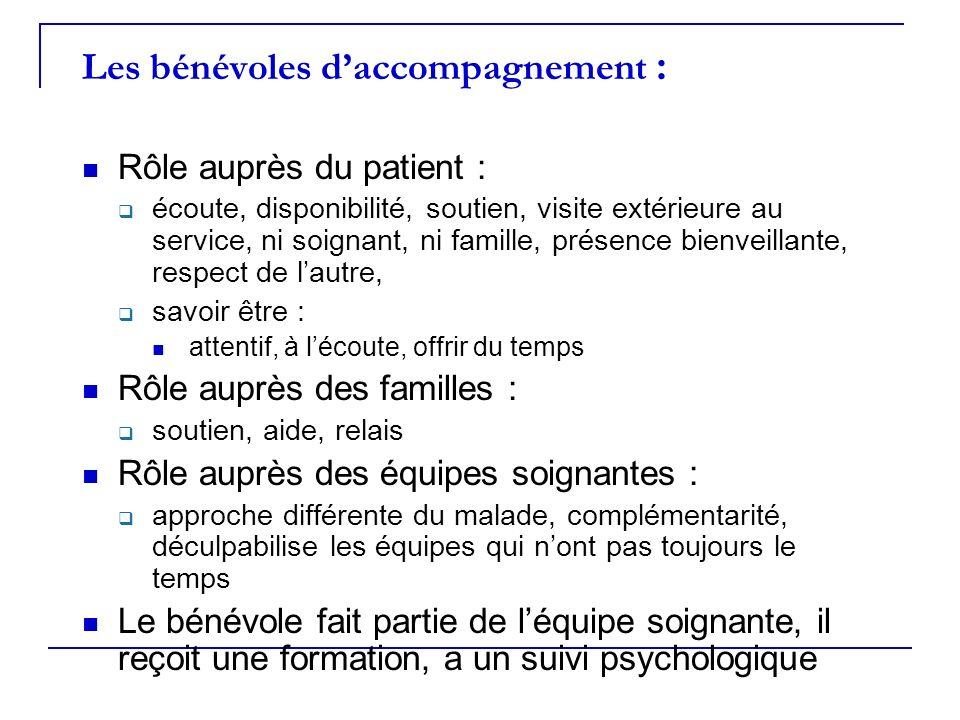 Les bénévoles daccompagnement : Rôle auprès du patient : écoute, disponibilité, soutien, visite extérieure au service, ni soignant, ni famille, présen