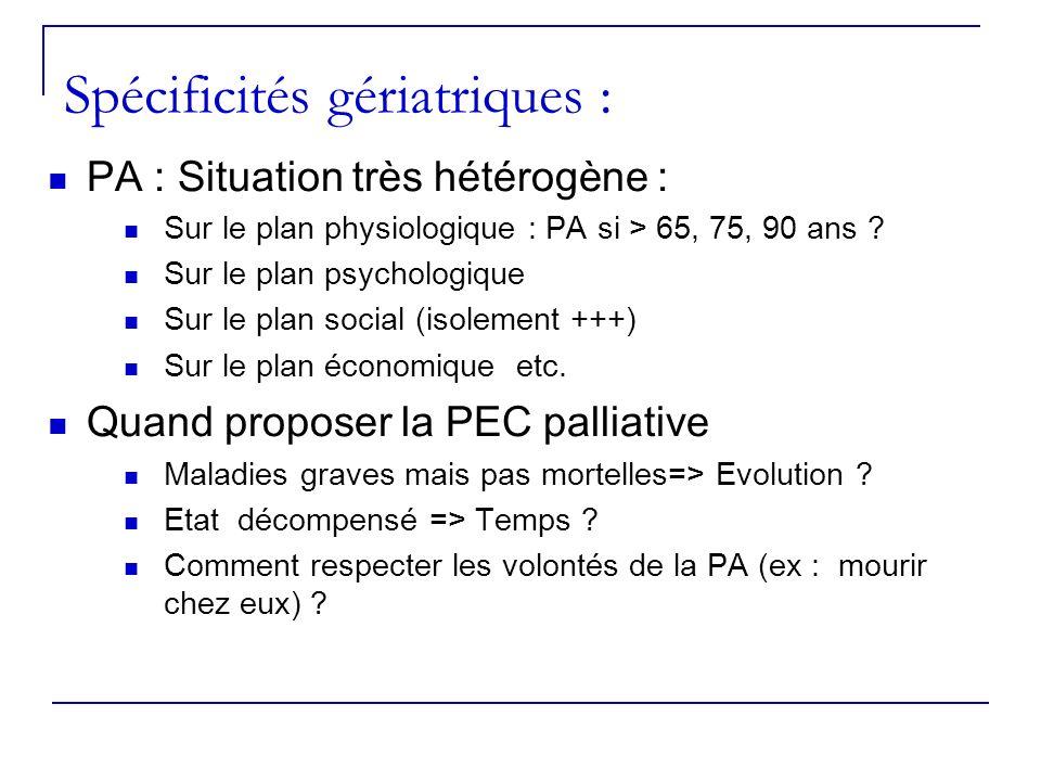 Spécificités gériatriques : PA : Situation très hétérogène : Sur le plan physiologique : PA si > 65, 75, 90 ans ? Sur le plan psychologique Sur le pla
