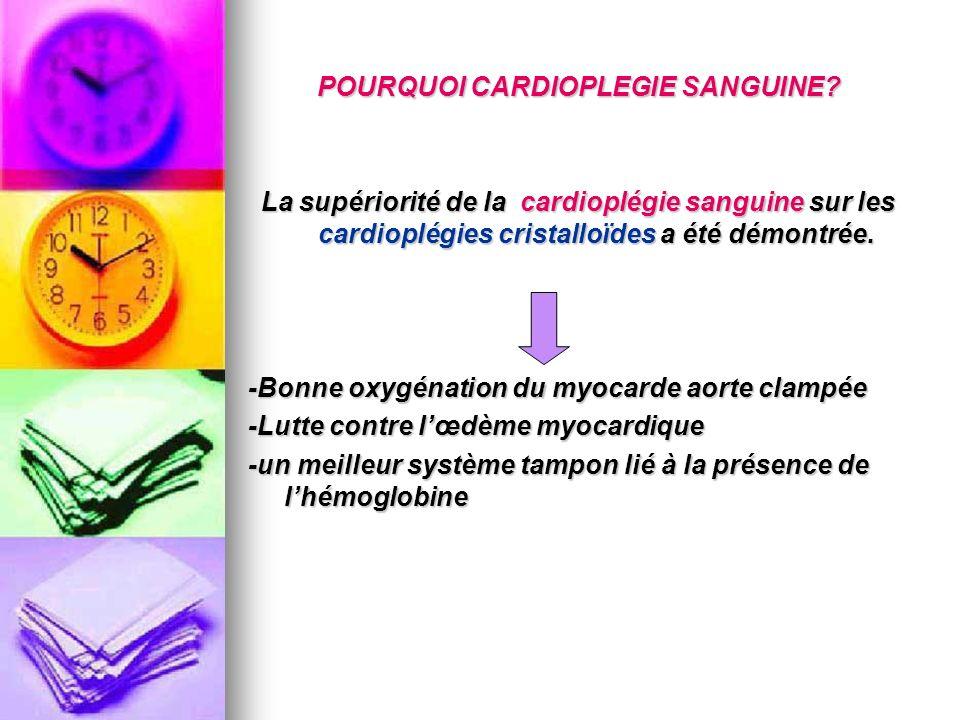 POURQUOI CARDIOPLEGIE SANGUINE? La supériorité de la cardioplégie sanguine sur les cardioplégies cristalloïdes a été démontrée. -Bonne oxygénation du