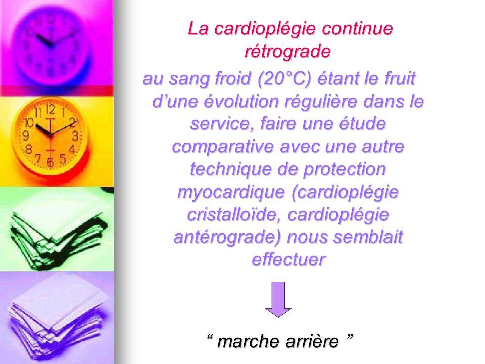 La cardioplégie continue rétrograde La cardioplégie continue rétrograde au sang froid (20°C) étant le fruit dune évolution régulière dans le service,