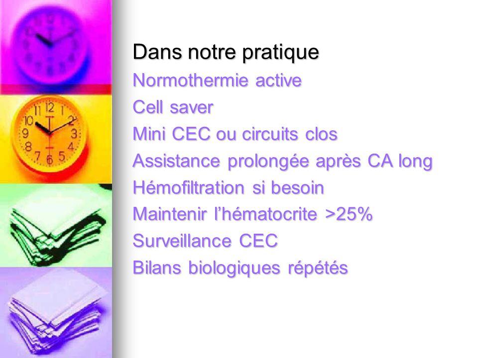 Dans notre pratique Normothermie active Cell saver Mini CEC ou circuits clos Assistance prolongée après CA long Hémofiltration si besoin Maintenir lhé